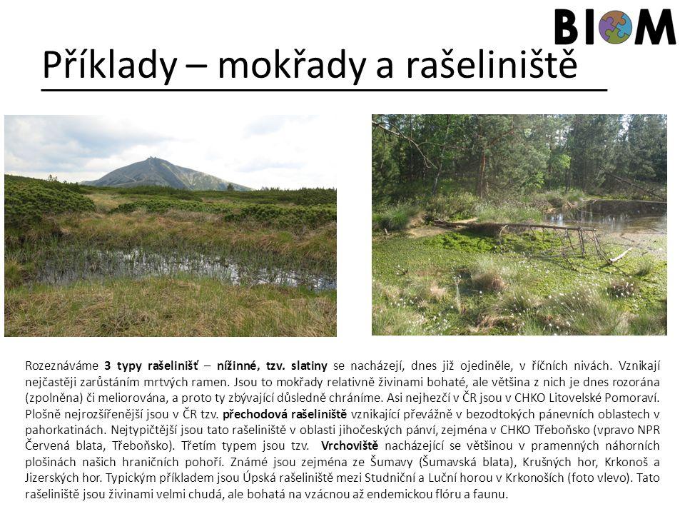 Příklady – mokřady a rašeliniště Rozeznáváme 3 typy rašelinišť – nížinné, tzv. slatiny se nacházejí, dnes již ojediněle, v říčních nivách. Vznikají ne