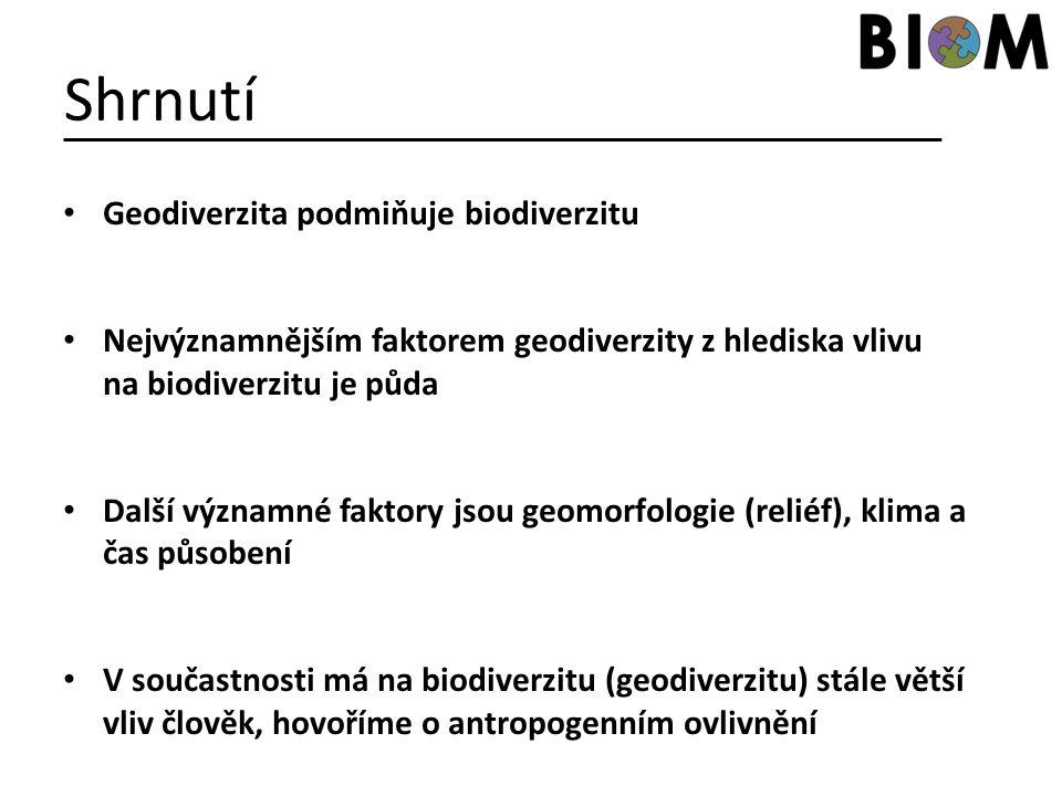 Shrnutí Geodiverzita podmiňuje biodiverzitu Nejvýznamnějším faktorem geodiverzity z hlediska vlivu na biodiverzitu je půda Další významné faktory jsou