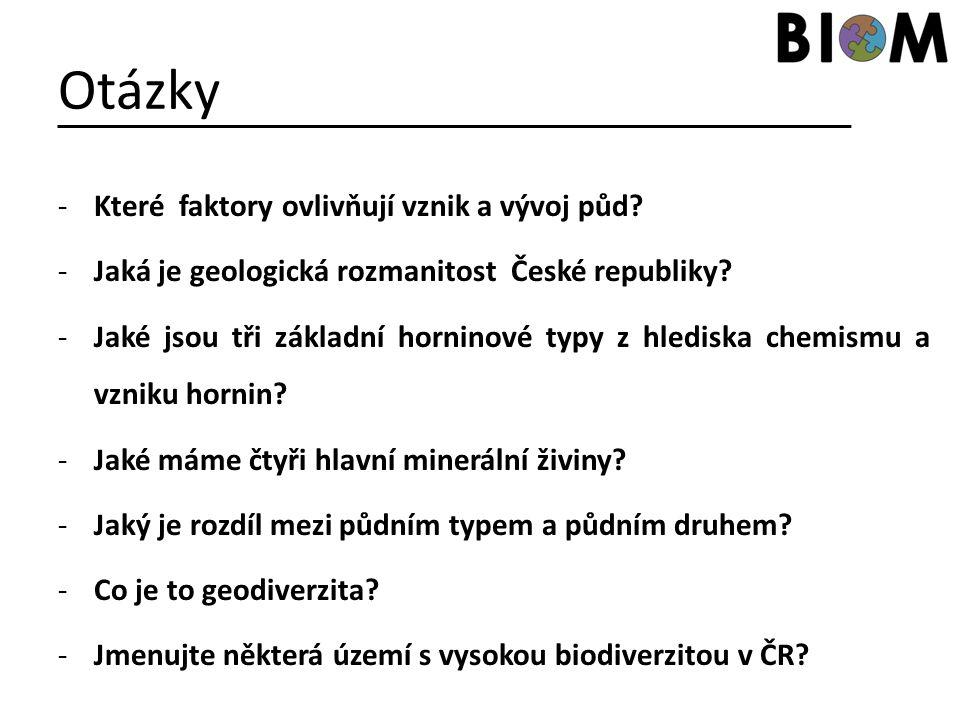 Otázky -Které faktory ovlivňují vznik a vývoj půd? -Jaká je geologická rozmanitost České republiky? -Jaké jsou tři základní horninové typy z hlediska
