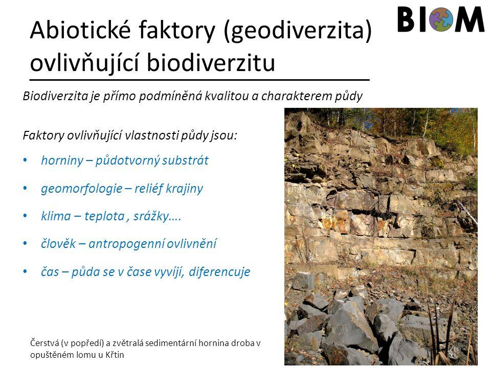 Abiotické faktory (geodiverzita) ovlivňující biodiverzitu Biodiverzita je přímo podmíněná kvalitou a charakterem půdy Faktory ovlivňující vlastnosti p