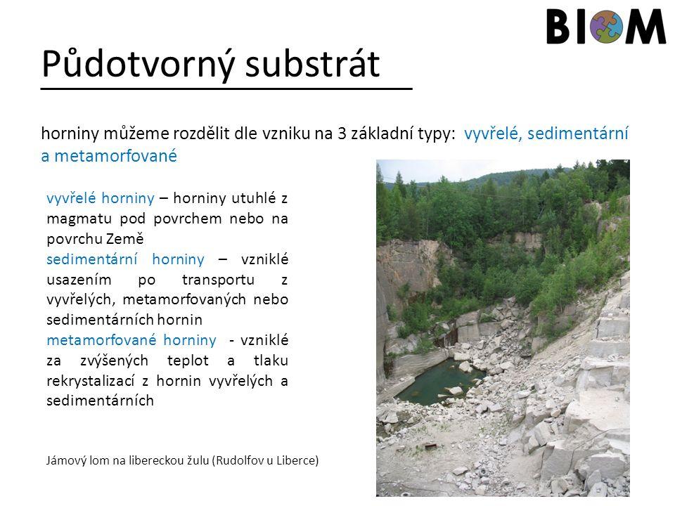 Půdotvorný substrát horniny můžeme rozdělit dle vzniku na 3 základní typy: vyvřelé, sedimentární a metamorfované vyvřelé horniny – horniny utuhlé z ma