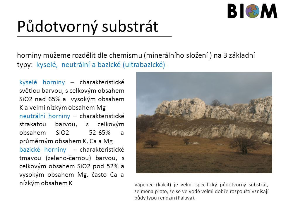 Půdotvorný substrát horniny můžeme rozdělit dle chemismu (minerálního složení ) na 3 základní typy: kyselé, neutrální a bazické (ultrabazické) kyselé