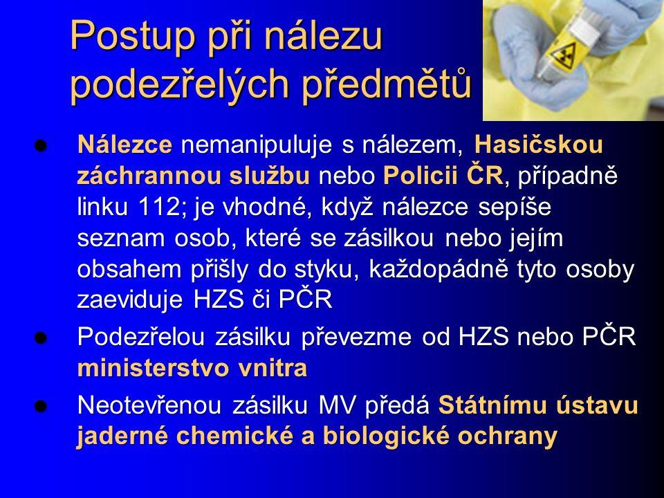 Postup při nálezu podezřelých předmětů Nálezce nemanipuluje s nálezem, Hasičskou záchrannou službu nebo Policii ČR, případně linku 112; je vhodné, když nálezce sepíše seznam osob, které se zásilkou nebo jejím obsahem přišly do styku, každopádně tyto osoby zaeviduje HZS či PČR Nálezce nemanipuluje s nálezem, Hasičskou záchrannou službu nebo Policii ČR, případně linku 112; je vhodné, když nálezce sepíše seznam osob, které se zásilkou nebo jejím obsahem přišly do styku, každopádně tyto osoby zaeviduje HZS či PČR Podezřelou zásilku převezme od HZS nebo PČR ministerstvo vnitra Podezřelou zásilku převezme od HZS nebo PČR ministerstvo vnitra Neotevřenou zásilku MV předá Státnímu ústavu jaderné chemické a biologické ochrany Neotevřenou zásilku MV předá Státnímu ústavu jaderné chemické a biologické ochrany
