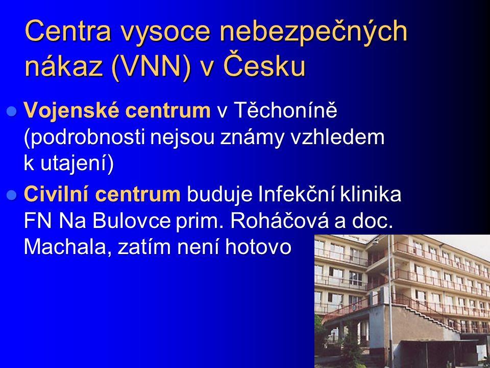 Centra vysoce nebezpečných nákaz (VNN) v Česku Vojenské centrum v Těchoníně (podrobnosti nejsou známy vzhledem k utajení) Vojenské centrum v Těchoníně (podrobnosti nejsou známy vzhledem k utajení) Civilní centrum buduje Infekční klinika FN Na Bulovce prim.