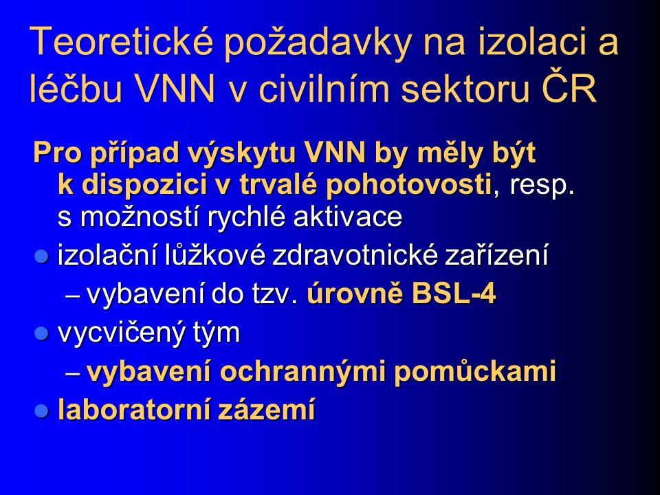 Teoretické požadavky na izolaci a léčbu VNN v civilním sektoru ČR Pro případ výskytu VNN by měly být k dispozici v trvalé pohotovosti, resp. s možnost