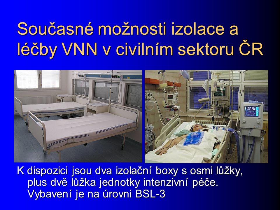 Současné možnosti izolace a léčby VNN v civilním sektoru ČR K dispozici jsou dva izolační boxy s osmi lůžky, plus dvě lůžka jednotky intenzivní péče.