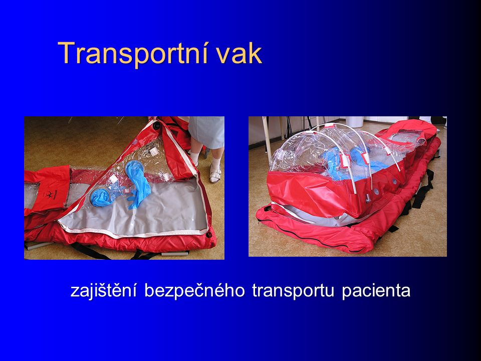 Transportní vak zajištění bezpečného transportu pacienta