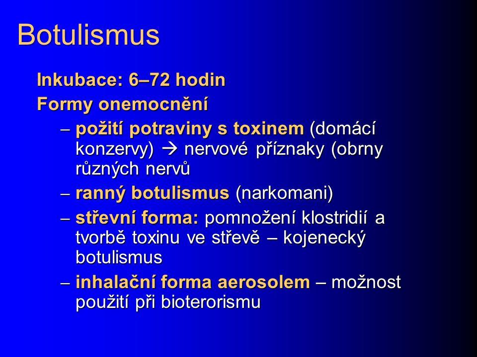 Botulismus Inkubace: 6–72 hodin Formy onemocnění – požití potraviny s toxinem (domácí konzervy)  nervové příznaky (obrny různých nervů – ranný botuli