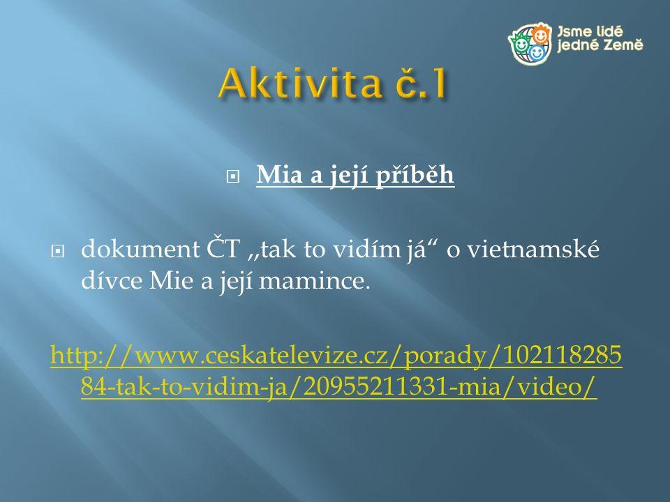 """ Mia a její příběh  dokument ČT,,tak to vidím já"""" o vietnamské dívce Mie a její mamince. http://www.ceskatelevize.cz/porady/102118285 84-tak-to-vidi"""