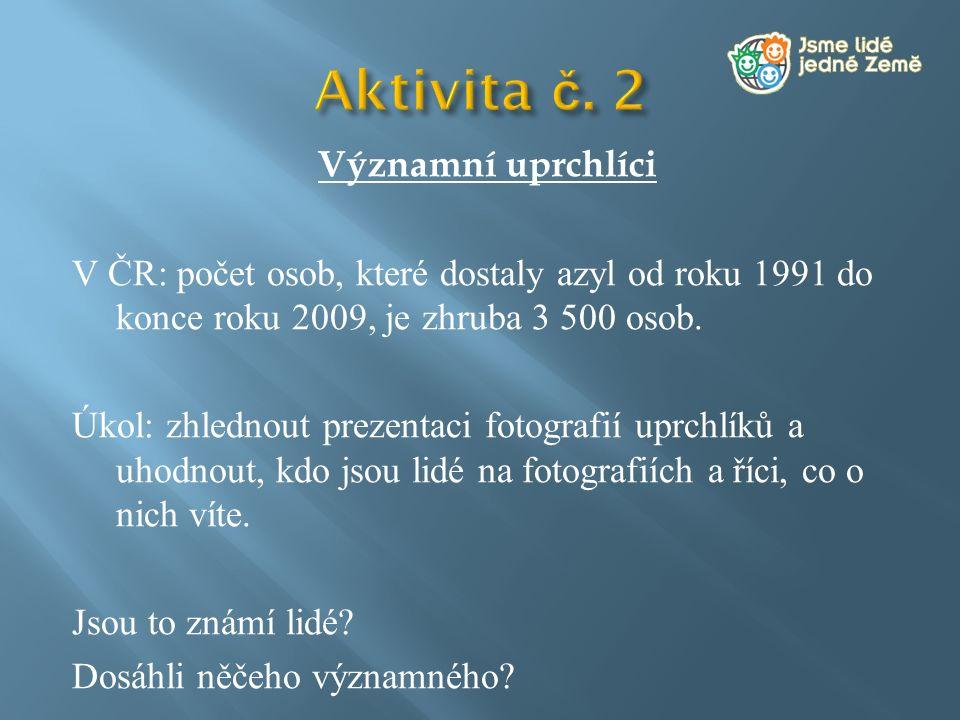 Významní uprchlíci V ČR: počet osob, které dostaly azyl od roku 1991 do konce roku 2009, je zhruba 3 500 osob. Úkol: zhlednout prezentaci fotografií u