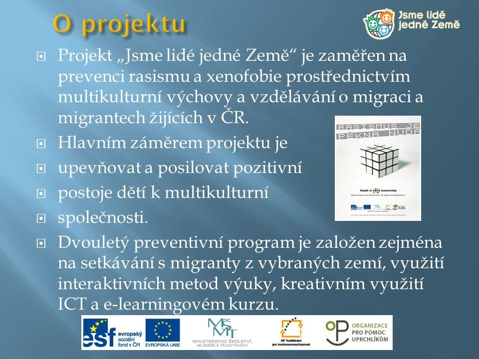 """ Projekt """"Jsme lidé jedné Země"""" je zaměřen na prevenci rasismu a xenofobie prostřednictvím multikulturní výchovy a vzdělávání o migraci a migrantech"""