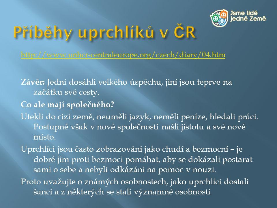 http://www.unhcr-centraleurope.org/czech/diary/04.htm Závěr: Jedni dosáhli velkého úspěchu, jiní jsou teprve na začátku své cesty. Co ale mají společn