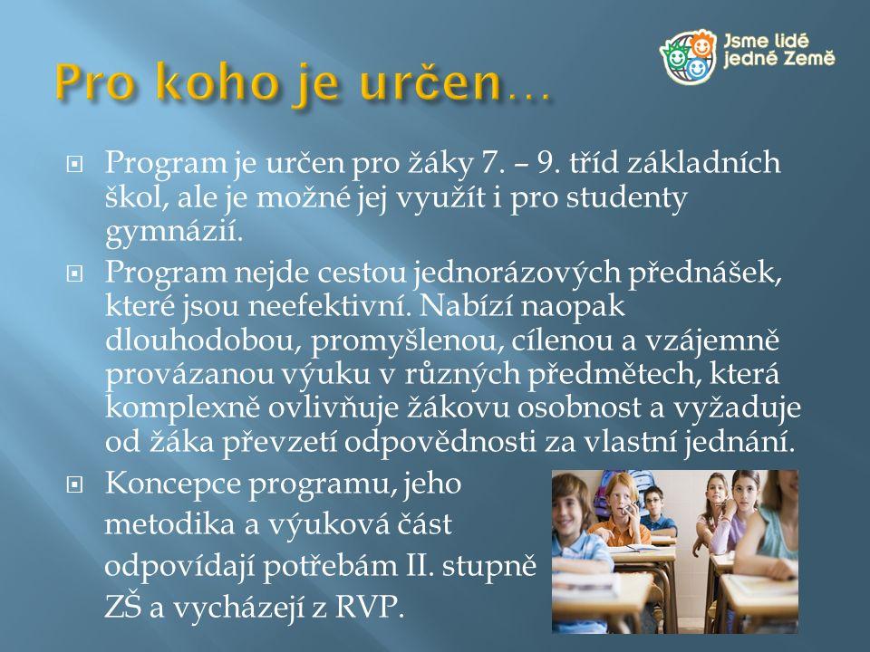  Program je určen pro žáky 7. – 9. tříd základních škol, ale je možné jej využít i pro studenty gymnázií.  Program nejde cestou jednorázových předná
