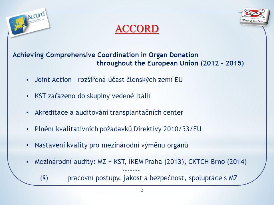 2 ACCORD Achieving Comprehensive Coordination in Organ Donation throughout the European Union (2012 – 2015) Joint Action – rozšířená účast členských zemí EU KST zařazeno do skupiny vedené Itálií Akreditace a auditování transplantačních center Plnění kvalitativních požadavků Direktivy 2010/53/EU Nastavení kvality pro mezinárodní výměnu orgánů Mezinárodní audity: MZ + KST, IKEM Praha (2013), CKTCH Brno (2014) ------- (§)pracovní postupy, jakost a bezpečnost, spolupráce s MZ