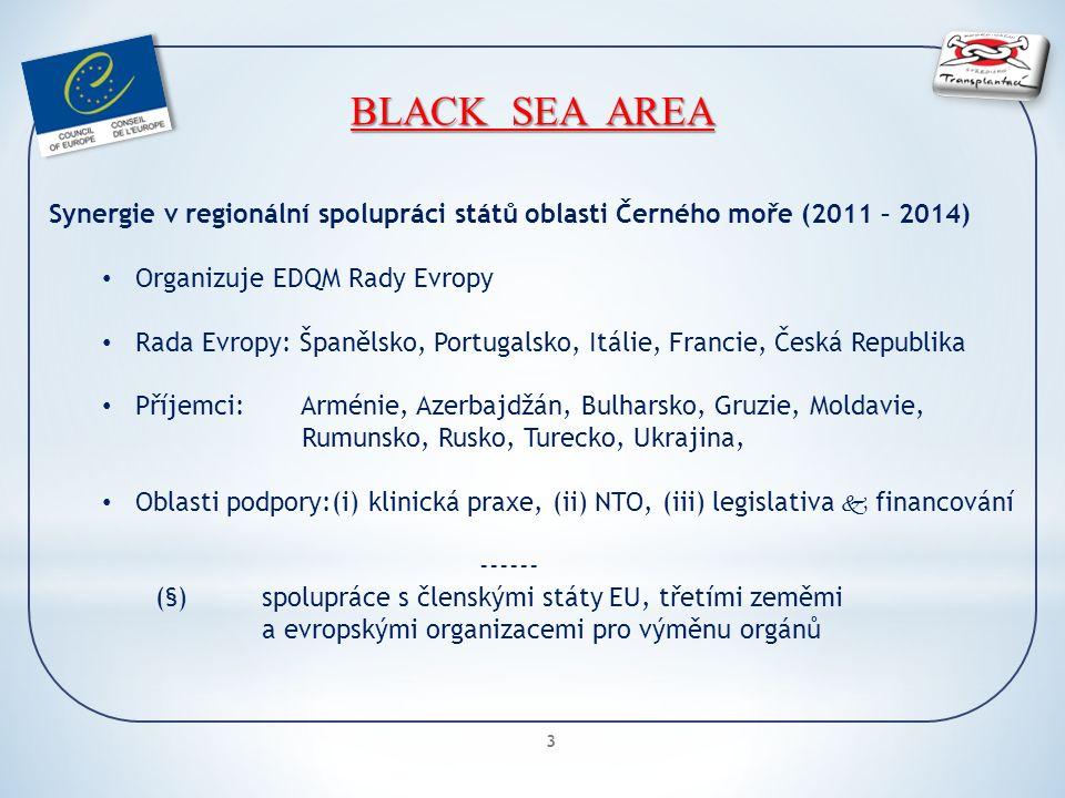 3 BLACK SEA AREA Synergie v regionální spolupráci států oblasti Černého moře (2011 – 2014) Organizuje EDQM Rady Evropy Rada Evropy: Španělsko, Portugalsko, Itálie, Francie, Česká Republika Příjemci: Arménie, Azerbajdžán, Bulharsko, Gruzie, Moldavie, Rumunsko, Rusko, Turecko, Ukrajina, Oblasti podpory:(i) klinická praxe, (ii) NTO, (iii) legislativa  financování ------ (§)spolupráce s členskými státy EU, třetími zeměmi a evropskými organizacemi pro výměnu orgánů