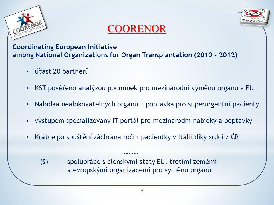 4 COORENOR Coordinating European Initiative among National Organizations for Organ Transplantation (2010 – 2012) účast 20 partnerů KST pověřeno analýzou podmínek pro mezinárodní výměnu orgánů v EU Nabídka nealokovatelných orgánů + poptávka pro superurgentní pacienty výstupem specializovaný IT portál pro mezinárodní nabídky a poptávky Krátce po spuštění záchrana roční pacientky v Itálii díky srdci z ČR ------ (§)spolupráce s členskými státy EU, třetími zeměmi a evropskými organizacemi pro výměnu orgánů