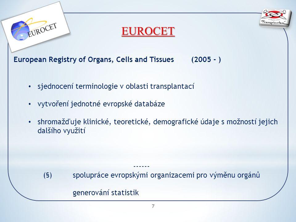 7 EUROCET European Registry of Organs, Cells and Tissues(2005 - ) sjednocení terminologie v oblasti transplantací vytvoření jednotné evropské databáze shromažďuje klinické, teoretické, demografické údaje s možností jejich dalšího využití ------ (§)spolupráce evropskými organizacemi pro výměnu orgánů generování statistik