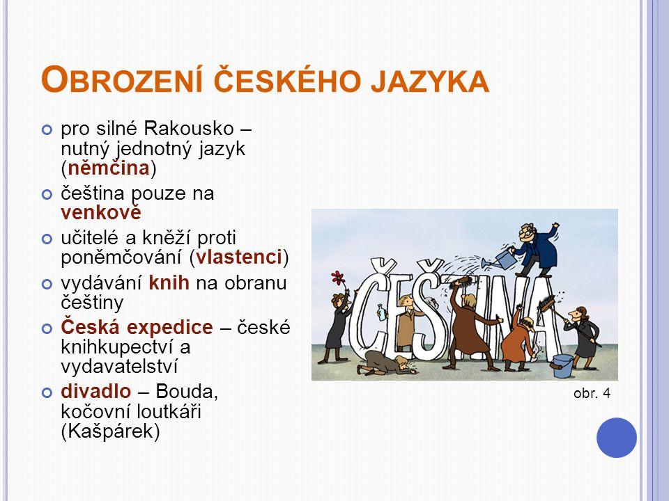O BROZENÍ ČESKÉHO JAZYKA pro silné Rakousko – nutný jednotný jazyk (němčina) čeština pouze na venkově učitelé a kněží proti poněmčování (vlastenci) vydávání knih na obranu češtiny Česká expedice – české knihkupectví a vydavatelství divadlo – Bouda, kočovní loutkáři (Kašpárek) obr.