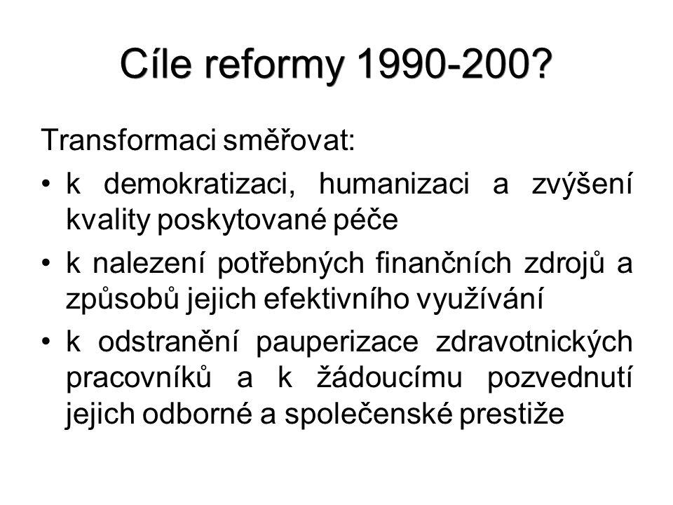 Cíle reformy 1990-200? Transformaci směřovat: k demokratizaci, humanizaci a zvýšení kvality poskytované péče k nalezení potřebných finančních zdrojů a
