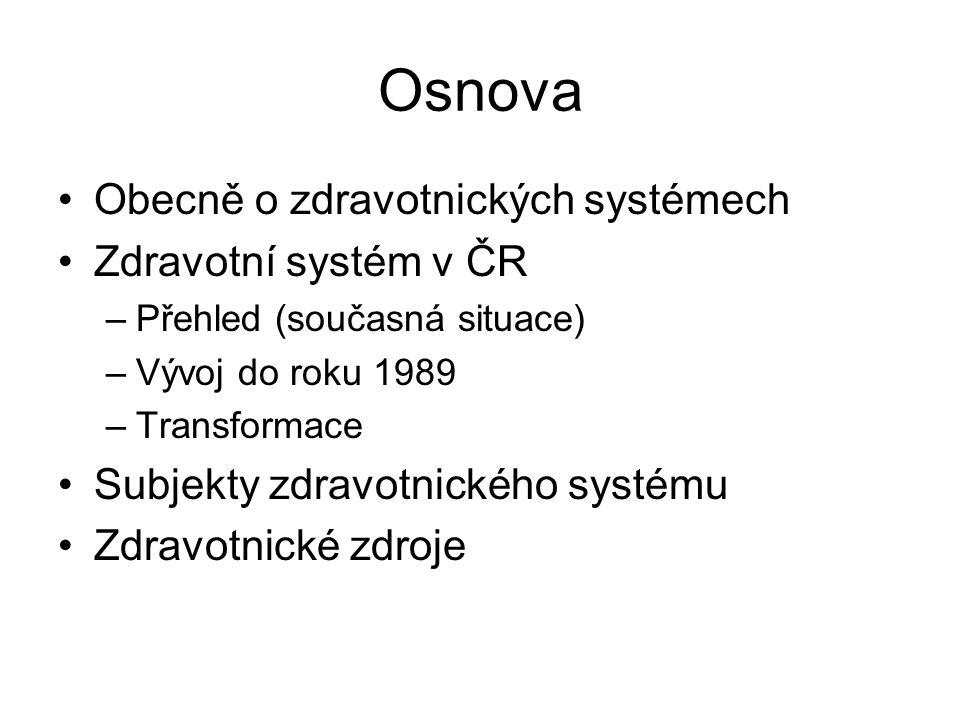Osnova Obecně o zdravotnických systémech Zdravotní systém v ČR –Přehled (současná situace) –Vývoj do roku 1989 –Transformace Subjekty zdravotnického s