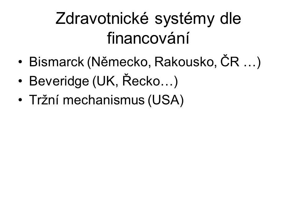 Zdravotnické systémy dle financování Bismarck (Německo, Rakousko, ČR …) Beveridge (UK, Řecko…) Tržní mechanismus (USA)