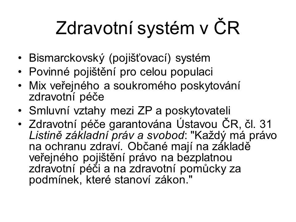 Zdravotní systém v ČR Bismarckovský (pojišťovací) systém Povinné pojištění pro celou populaci Mix veřejného a soukromého poskytování zdravotní péče Sm