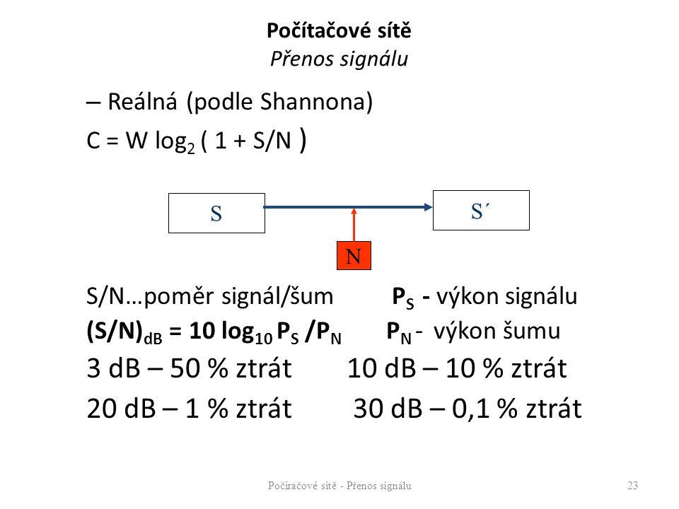 Počítačové sítě Přenos signálu Přenosový kanál – soubor prostředků mezi dvěma uzly sítě umožňující přenos signálu (vysílací rozhraní, přenosové médium, přijímací rozhraní) Přenosový kanál vytvářejí přenosové technologie, které specifikují – rychlost přenosu – pořadí bitů little endian – bit s nejmenší váhou v oktetu je vyslán první big endian – bit s největší váhou v oktetu je vyslán první – přenosové médium (typ, max.