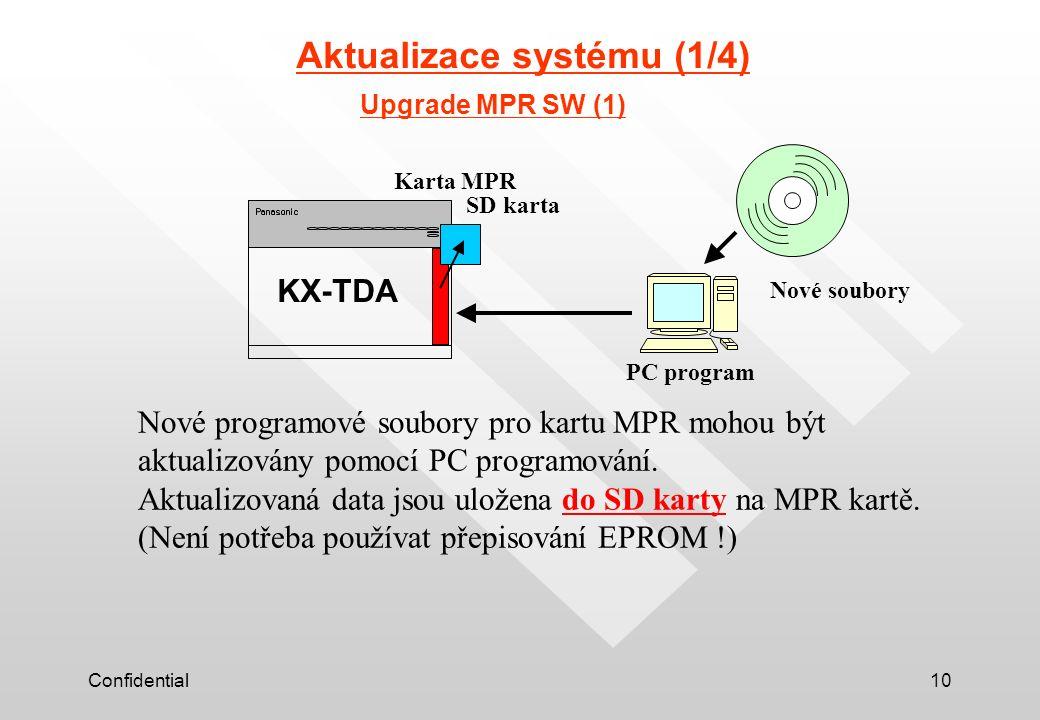 Confidential10 Aktualizace systému (1/4) KX-TDA Upgrade MPR SW (1) SD karta PC program Nové soubory Nové programové soubory pro kartu MPR mohou být aktualizovány pomocí PC programování.