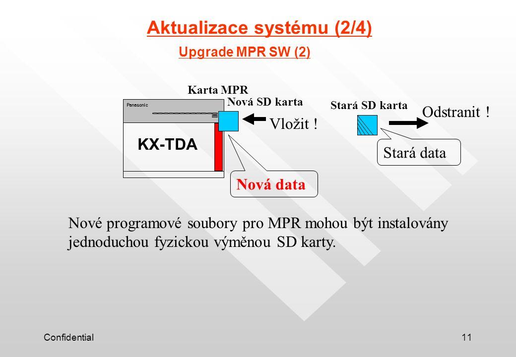 Confidential11 Aktualizace systému (2/4) KX-TDA Upgrade MPR SW (2) Nová SD karta Nové programové soubory pro MPR mohou být instalovány jednoduchou fyzickou výměnou SD karty.