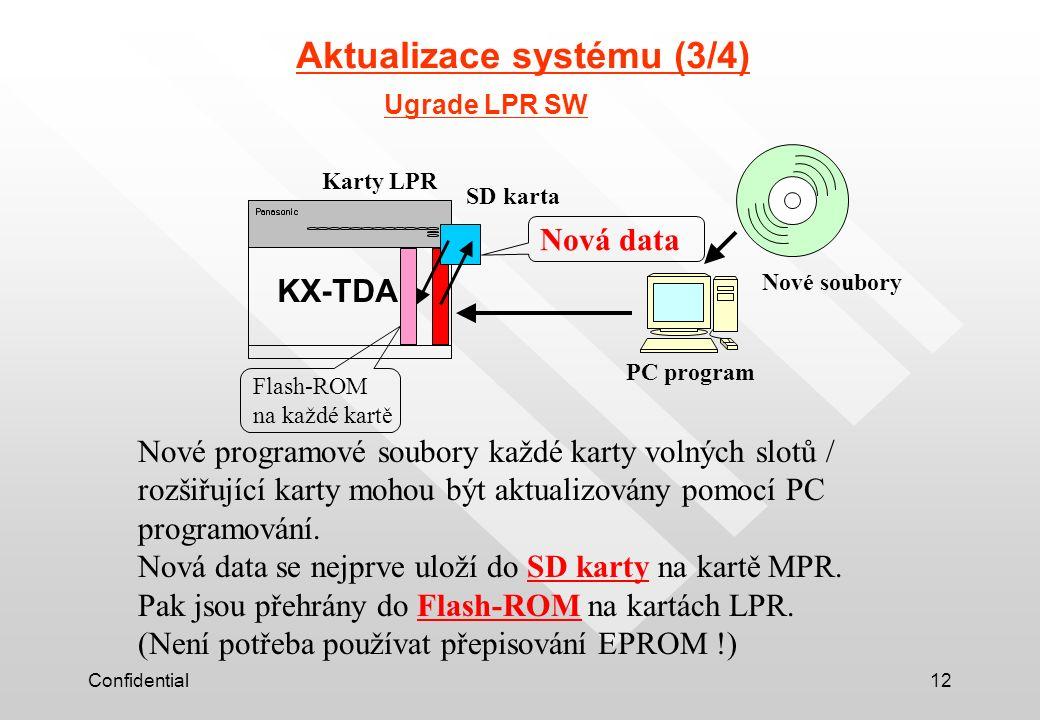 Confidential12 Aktualizace systému (3/4) Ugrade LPR SW Nové programové soubory každé karty volných slotů / rozšiřující karty mohou být aktualizovány pomocí PC programování.