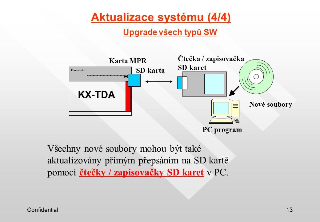 Confidential13 Upgrade všech typů SW KX-TDA SD karta Karta MPR PC program Nové soubory Čtečka / zapisovačka SD karet Všechny nové soubory mohou být také aktualizovány přímým přepsáním na SD kartě pomocí čtečky / zapisovačky SD karet v PC.
