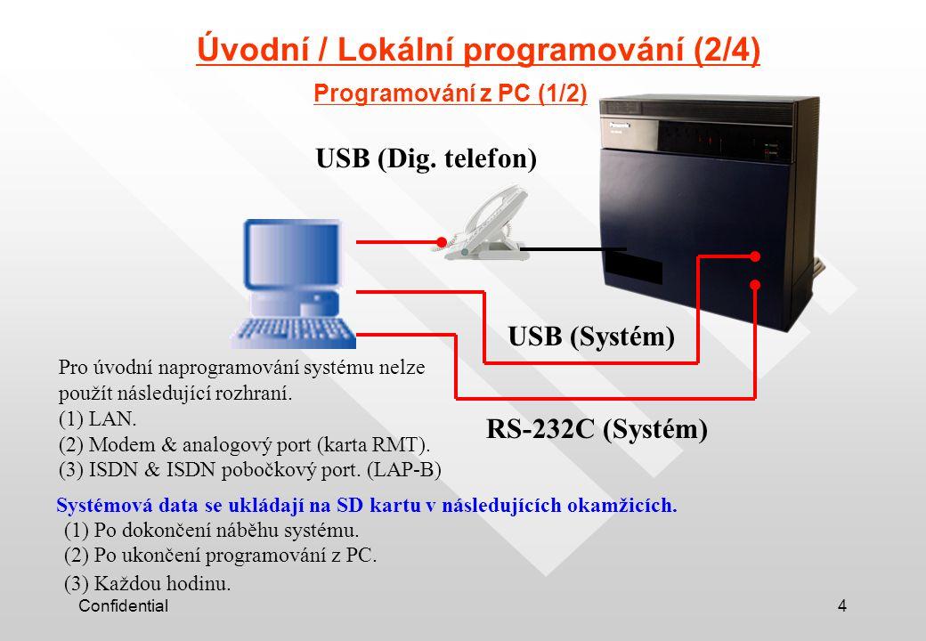 Confidential4 Úvodní / Lokální programování (2/4) Programování z PC (1/2) RS-232C (Systém) USB (Systém) USB (Dig. telefon) Pro úvodní naprogramování s