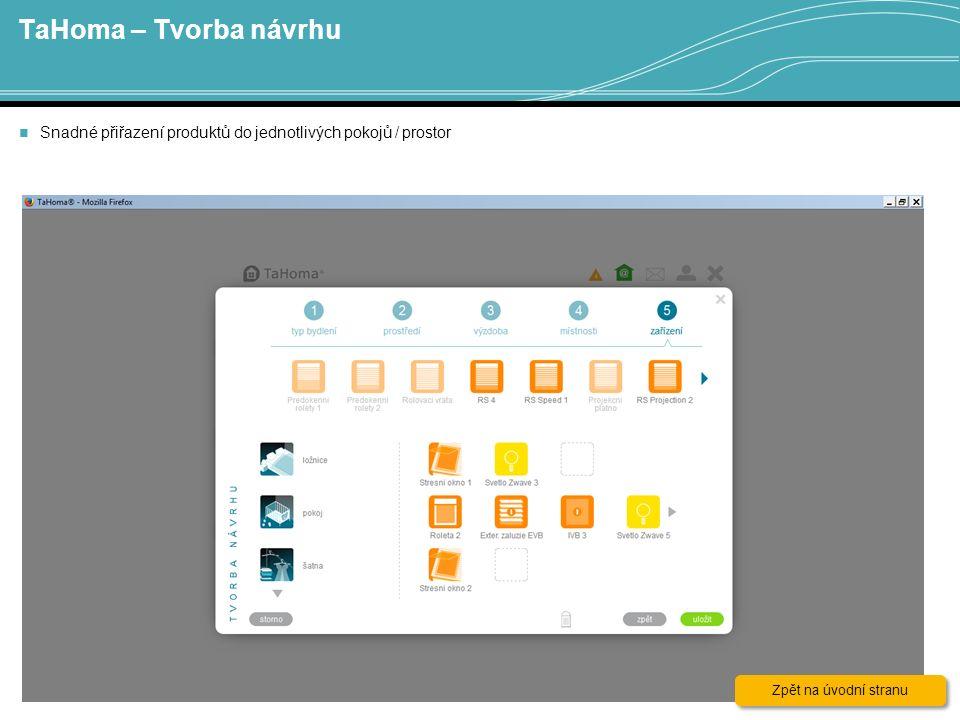 TaHoma – Tvorba návrhu 16 Snadné přiřazení produktů do jednotlivých pokojů / prostor Zpět na úvodní stranu Zpět na úvodní stranu