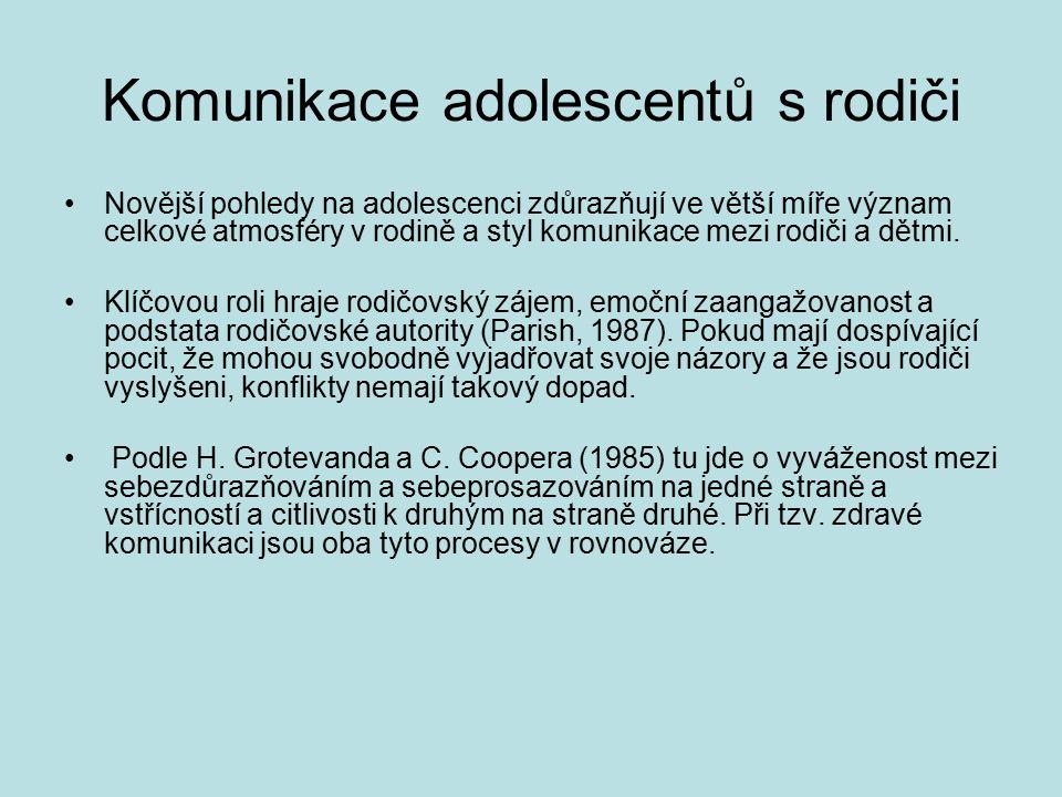 Komunikace adolescentů s rodiči Novější pohledy na adolescenci zdůrazňují ve větší míře význam celkové atmosféry v rodině a styl komunikace mezi rodiči a dětmi.