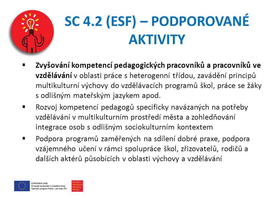 SC 4.2 (ESF) – PODPOROVANÉ AKTIVITY  Zvyšování kompetencí pedagogických pracovníků a pracovníků ve vzdělávání v oblasti práce s heterogenní třídou, zavádění principů multikulturní výchovy do vzdělávacích programů škol, práce se žáky s odlišným mateřským jazykem apod.