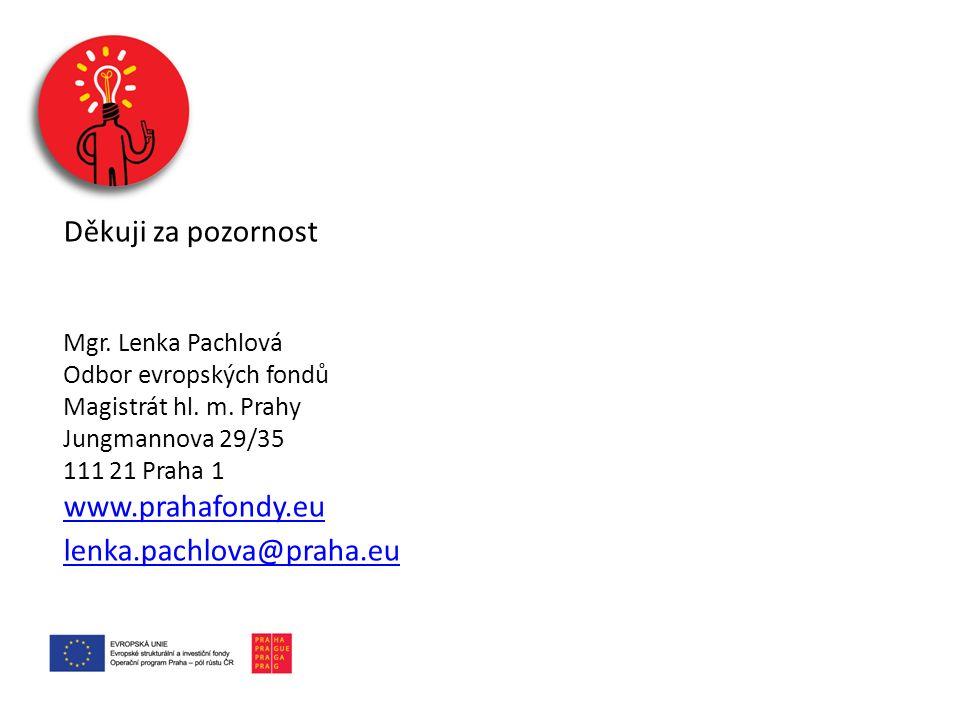 Děkuji za pozornost Mgr. Lenka Pachlová Odbor evropských fondů Magistrát hl. m. Prahy Jungmannova 29/35 111 21 Praha 1 www.prahafondy.eu lenka.pachlov