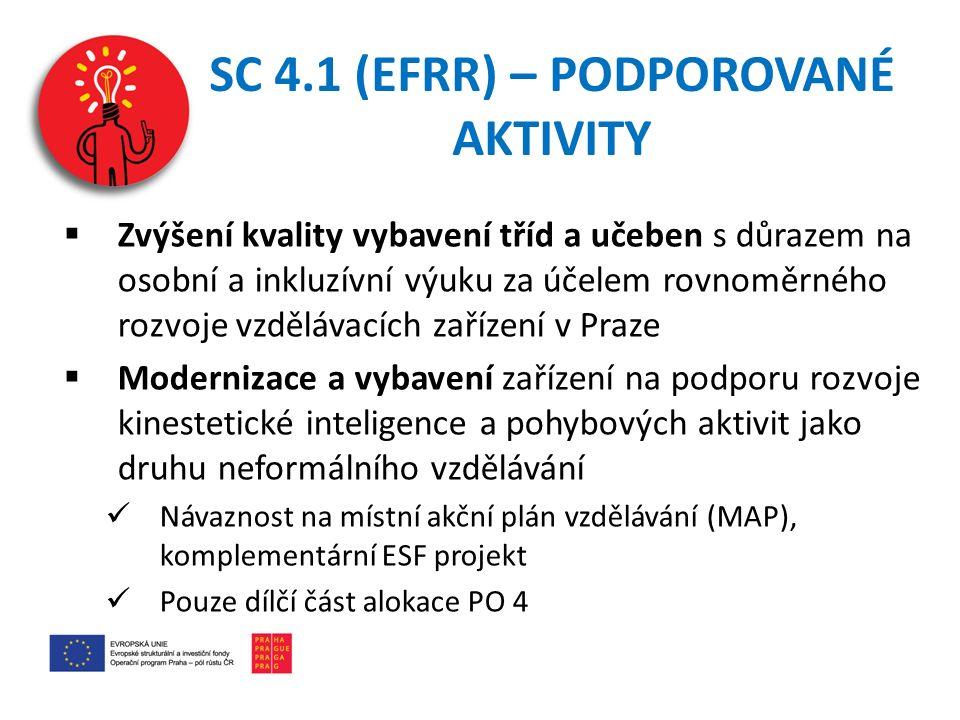 SC 4.1 (EFRR) – PODPOROVANÉ AKTIVITY  Zvýšení kvality vybavení tříd a učeben s důrazem na osobní a inkluzívní výuku za účelem rovnoměrného rozvoje vzdělávacích zařízení v Praze  Modernizace a vybavení zařízení na podporu rozvoje kinestetické inteligence a pohybových aktivit jako druhu neformálního vzdělávání Návaznost na místní akční plán vzdělávání (MAP), komplementární ESF projekt Pouze dílčí část alokace PO 4