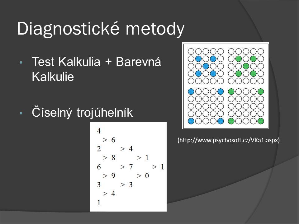 Diagnostické metody Test Kalkulia + Barevná Kalkulie Číselný trojúhelník (http://www.psychosoft.cz/VKa1.aspx)