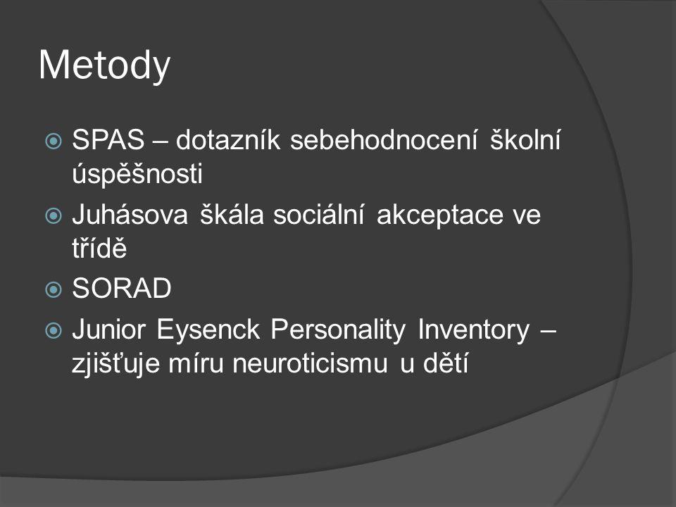 Metody  SPAS – dotazník sebehodnocení školní úspěšnosti  Juhásova škála sociální akceptace ve třídě  SORAD  Junior Eysenck Personality Inventory –