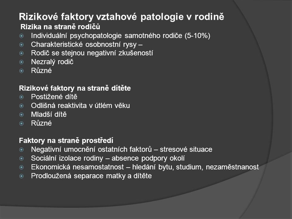 Rizikové faktory vztahové patologie v rodině Rizika na straně rodičů  Individuální psychopatologie samotného rodiče (5-10%)  Charakteristické osobno