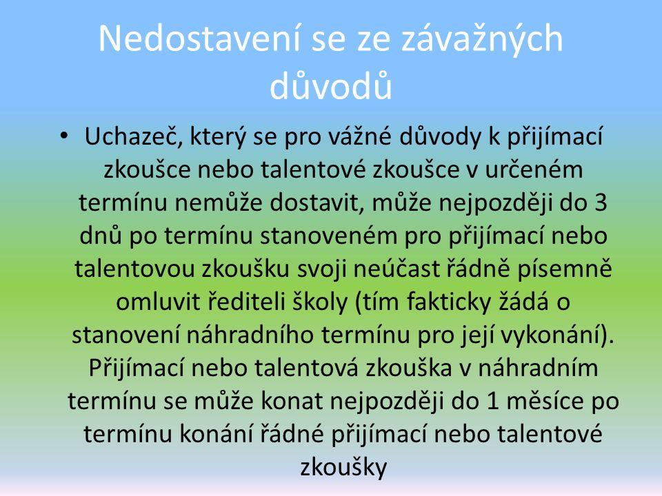 Nedostavení se ze závažných důvodů Uchazeč, který se pro vážné důvody k přijímací zkoušce nebo talentové zkoušce v určeném termínu nemůže dostavit, mů