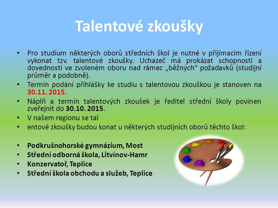 Talentové zkoušky Pro studium některých oborů středních škol je nutné v přijímacím řízení vykonat tzv. talentové zkoušky. Uchazeč má prokázat schopnos
