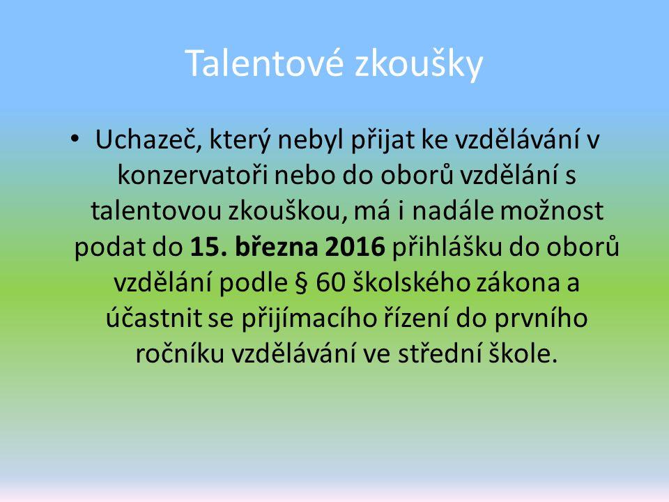 Talentové zkoušky Uchazeč, který nebyl přijat ke vzdělávání v konzervatoři nebo do oborů vzdělání s talentovou zkouškou, má i nadále možnost podat do