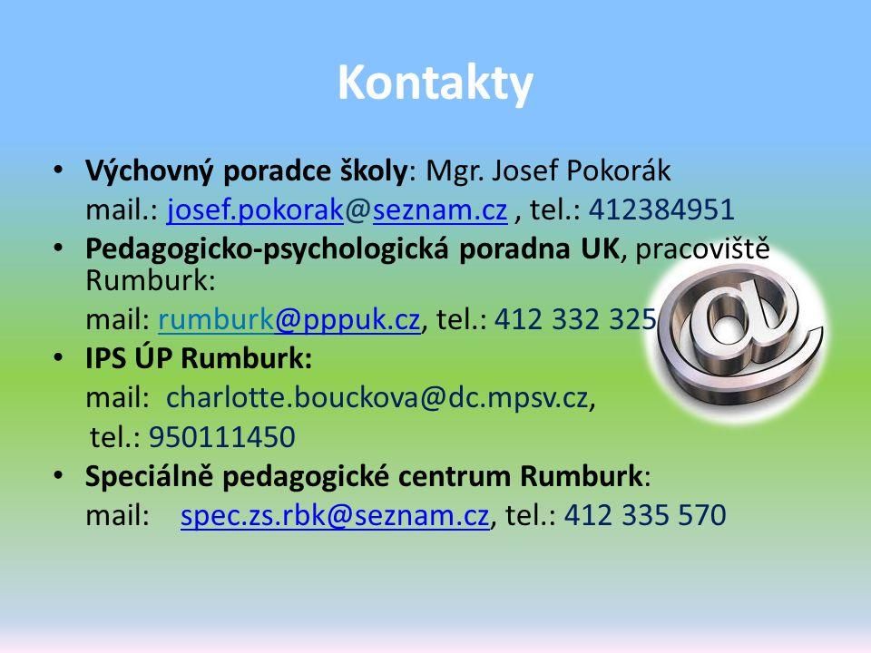 Kontakty Výchovný poradce školy: Mgr. Josef Pokorák mail.: josef.pokorak@seznam.cz, tel.: 412384951josef.pokorakseznam.cz Pedagogicko-psychologická po