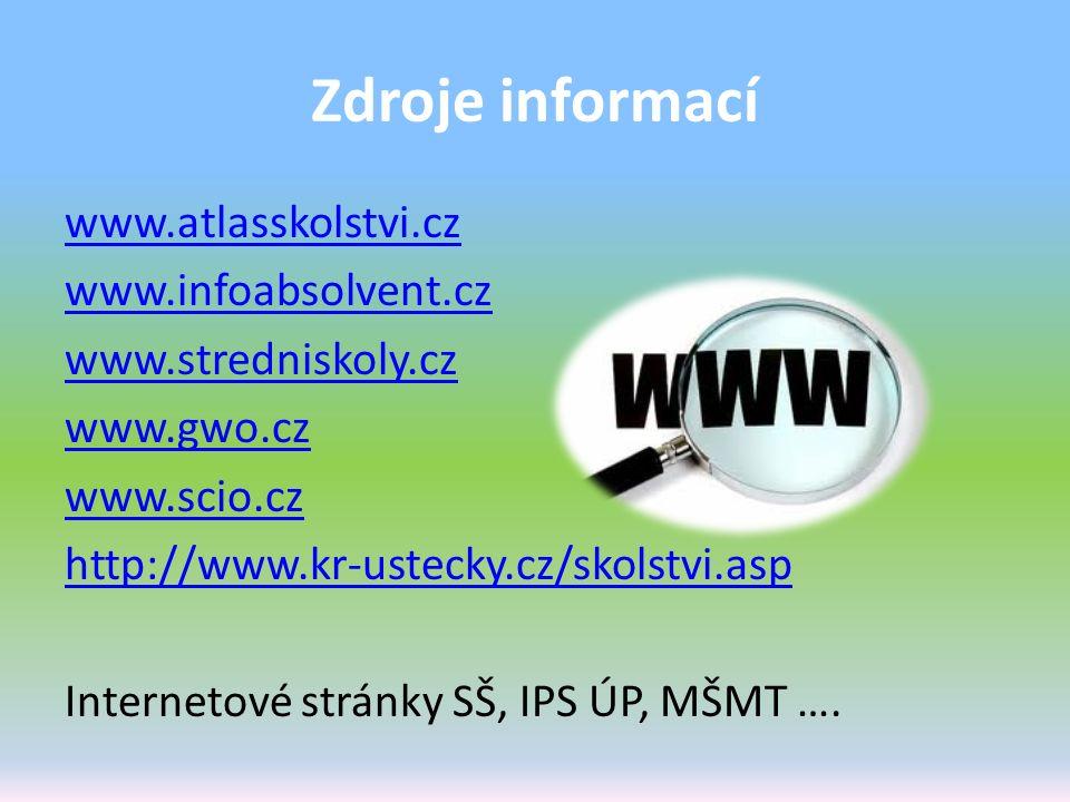 Zdroje informací www.atlasskolstvi.cz www.infoabsolvent.cz www.stredniskoly.cz www.gwo.cz www.scio.cz http://www.kr-ustecky.cz/skolstvi.asp Internetov