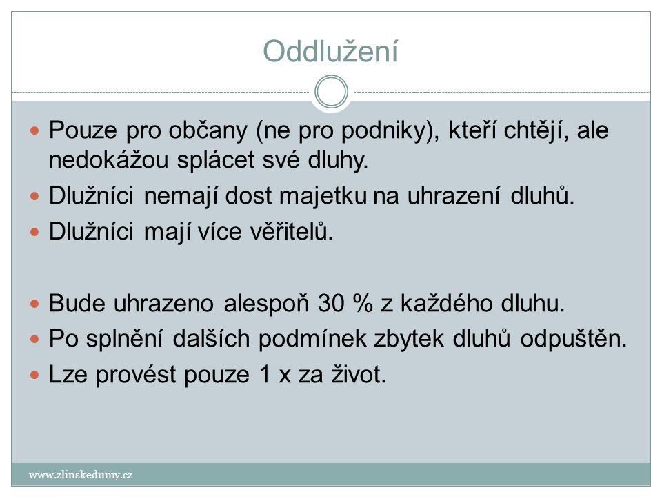 Oddlužení www.zlinskedumy.cz Pouze pro občany (ne pro podniky), kteří chtějí, ale nedokážou splácet své dluhy.