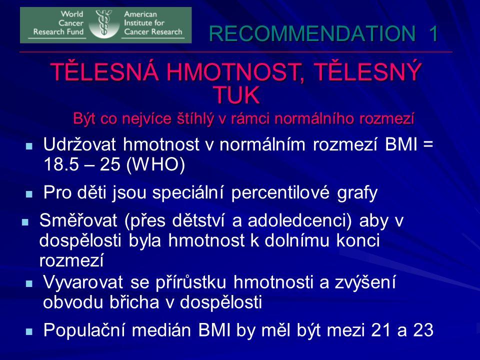 RECOMMENDATION 1 TĚLESNÁ HMOTNOST, TĚLESNÝ TUK Být co nejvíce štíhlý v rámci normálního rozmezí Udržovat hmotnost v normálním rozmezí BMI = 18.5 – 25 (WHO) Populační medián BMI by měl být mezi 21 a 23 Pro děti jsou speciální percentilové grafy Směřovat (přes dětství a adoledcenci) aby v dospělosti byla hmotnost k dolnímu konci rozmezí Vyvarovat se přírůstku hmotnosti a zvýšení obvodu břicha v dospělosti