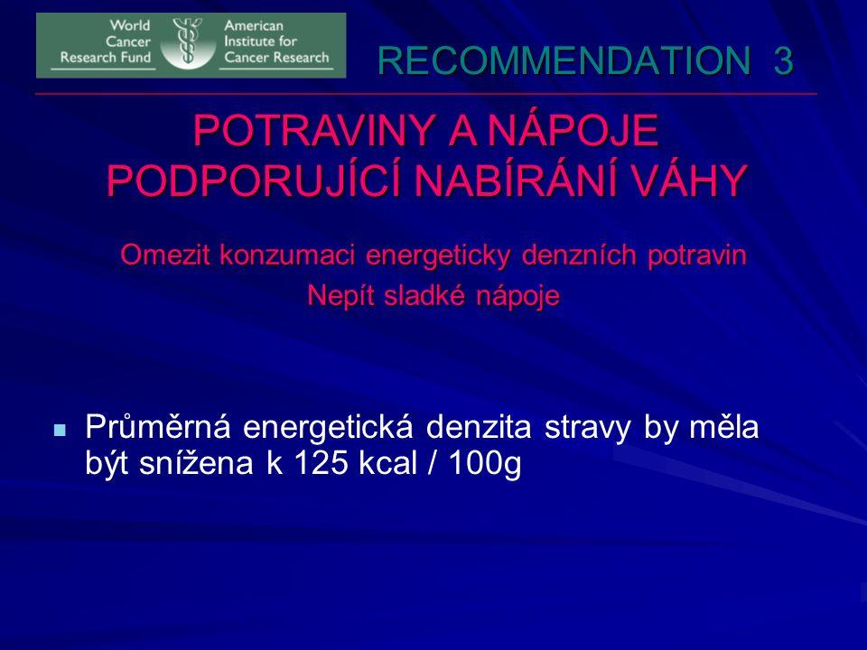 RECOMMENDATION 3 POTRAVINY A NÁPOJE PODPORUJÍCÍ NABÍRÁNÍ VÁHY Omezit konzumaci energeticky denzních potravin Nepít sladké nápoje Průměrná energetická denzita stravy by měla být snížena k 125 kcal / 100g