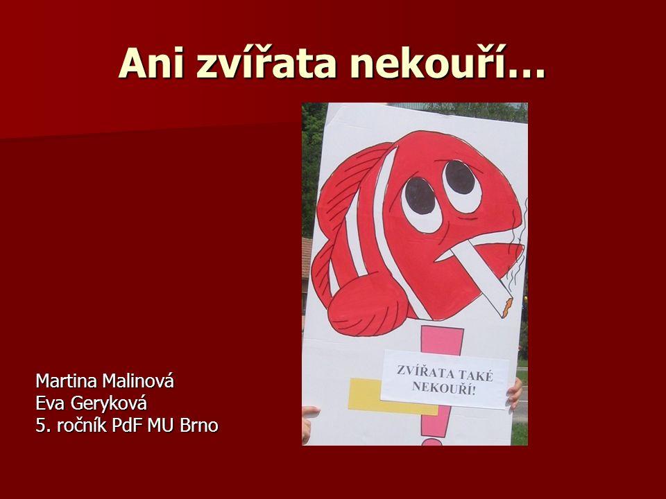 Ani zvířata nekouří… Martina Malinová Eva Geryková 5. ročník PdF MU Brno