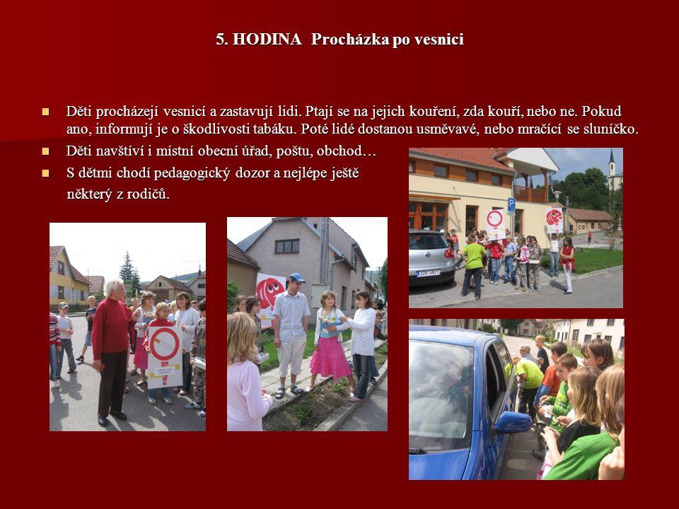 5.HODINA Procházka po vesnici Děti procházejí vesnicí a zastavují lidi.